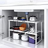 HOMFA Under Sink Shelf Extendable Storage Stainless Steel and pp plastic Rack Adjustable Kitchen Organizer