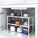 HOMFA Küchen Unterschrankregal flexibel Spülschrankregal Küchenregal  Steckregal mit 2 Etagen in der Höhe verstellbar für den Spülbeckenunterschrank