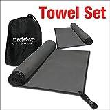 Juego de toallas 140x80 cm y 80x40 cm de microfibra con protección antibacteriana - bolsa de transporte gratuita