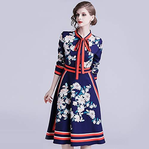 Kontrast Kragen Kleid Shirt (QUNLIANYI Kleider Lang Runway Shirt Kleid Damen Langarm Kontrast Fliege Kragen Blumendruck Gestreiftes Vintage Midi Kleid XXL)