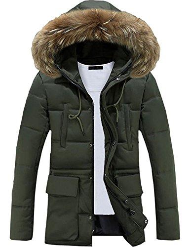 Minetom uomo sportiva manica lunga giacca con cappuccio vento imbottita moda cappotto parka caldo giubbotto lunga cappotti verde eu xs