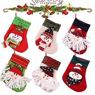 MMTX Juego de 6 Calcetines de Navidad Regalode Decoración Bordado de Santa Claus Muñeco Nieve Mini Botas Bolsillo Calcetín de Tartán de Felpa Roja para Año de Dulces Presenta la Colgante del árbol