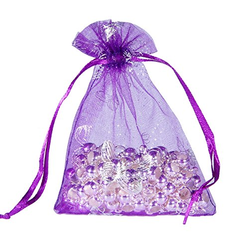 HooAMI 100 pcs Sachets Pochettes Papillon En Organza Organisateur de Cadeau Bonbons Bijoux Pour Mariage Anniversaire Soirée Fête Violet 9x12cm