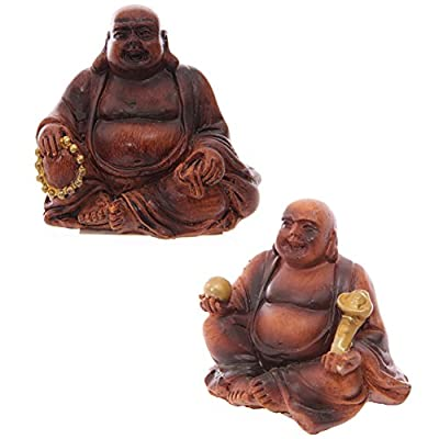 Mini Wood Effect Lucky Buddha Collectable