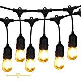 Outdoor String Lights LED, BRIMAX 48ft Heavy Duty Commercial Grade IP65 Waterproof String Lights,15 E27 Sockets, 18 LED Bulbs (2W Warm White),Weatherproof Garden lights for Patio,Backyard,Cafe,Wedding