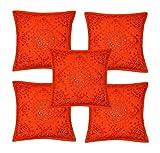 Rajasthali Indischen ethnischen Handgefertigtes Kissen mit Stickerei & Spiegel Arbeit 5 Stück, 43 X 43 Cm Cm orange
