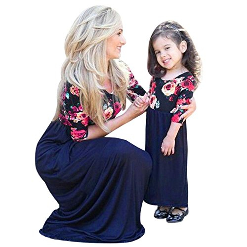 Mutter Tochter Kleid BURFLY Blumendruck Mom Kinder halbe Hülse Maxi lange Kleid Familie Kleidung gesetzt (6-7T, Blau) (Sleeve Striped Henley Shirt Long)