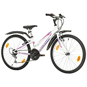 51jZoQlpxbL. SS300  - Multibrand, PROBIKE ADVENTURE, 24 inch, 290 mm, Mountain Bike, 18 speed, Mudgard Set, For Women, Kids, Juniors, White