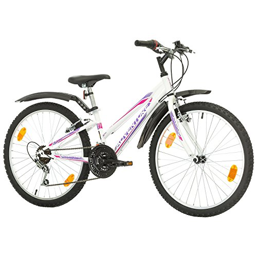 Multibrand, Probike Adventure, 24 Zoll, 290mm, Mountainbike, 18 Gang, Schutzblech-Set Für Damen Kinder Junioren, Weiß (Weiße Abenteuer T-shirt)
