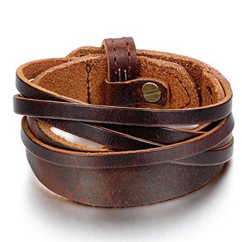 JewelryWe Schmuck Herren Armband, Armreif 18-20cm Verstellbaren Größen, Leder Legierung, Braun (Flöte Schmuck)
