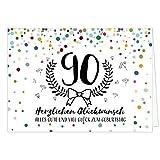 Große Glückwunschkarte zum 90. Geburtstag XXL (A4) Modern/mit Umschlag/Edle Design Klappkarte/Glückwunsch/Happy Birthday Geburtstagskarte/Extra Groß/Edle Maxi Gruß-Karte