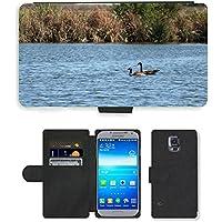 Grand Phone Cases PU Leather Flip Custodia Protettiva Case Cover per // M00141718 Oies rivière Natation Canada Goose Eau // Samsung Galaxy S5 S V SV i9600 (Not Fits S5 ACTIVE)