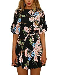 8a784cff1c YOINS Summer Dresses for Women Random Floral Print Mini Dress Round Neck  with Half Flared Sleeves