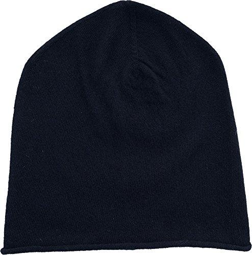 REALLY NICE CASHMERE Eco Kaschmir Mütze - Curl Solid Beanie Unisex - Winter Strickmütze 100% Wolle schwarz