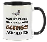 Nice-Presents Tasse Das ist Taube EIN Klassiker unter den Motiv Tassen. Beidseitig Bedruckt und Spülmaschinengeeignet Immer EIN tolles Geschenk. (A-Schwarz)