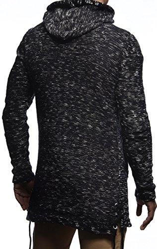 LEIF NELSON Herren Jacke Strickjacke Kapuzenpullover Hoodie Pullover Sweatjacke Sweatshirt Freitzeitjacke LN20740; Gr__e M, Schwarz - 3