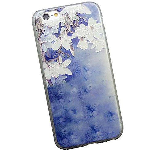 Hosaire Coque Soft TPU Silicone Ultra-thin Phone Case Housse pour iPhone 6 Plus 6s Plus Créatif Motif de Peint Fleur Marguerite Étui Cover de Protection de Téléphone Case pour iPhone 6 Plus/ 6s Plus Fleur Bleu