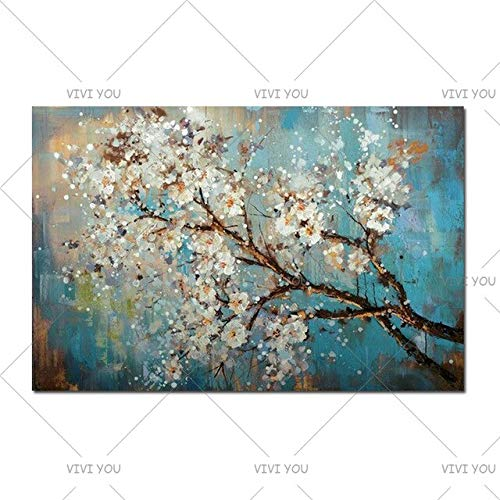 YYHDYP 100% Handgemalte Moderne Wohnkultur Wandkunst Bilder Plum Blossom Weiße Blumen Baum Ölgemälde Auf Leinwand Für Wohnzimmer 60X90 cm 02 -