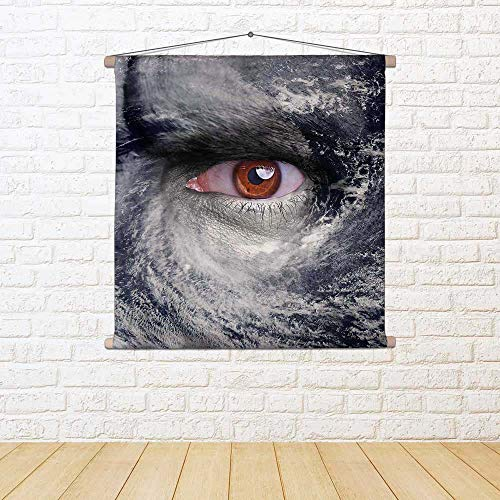 ArtzFolio Blue Eye In The Middle of A Tropical Hurricane D2 Canvas Painting Tapestry Scroll Art Hanging 28.7 X 28.7Inch