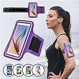 Brassard Sport pour Samsung Galaxy S6/S6 edge/S7 (Pas inclus Samsung S7 Edge), SAVFY Brassard Smartphone pour Course Jogging Vélo Pêche Sangle Réglable Violet