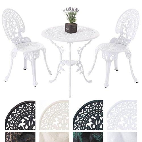 CLP Sitzgruppe Set VISHNU Gusseisen, antik, Tisch rund Ø 65 cm weiß