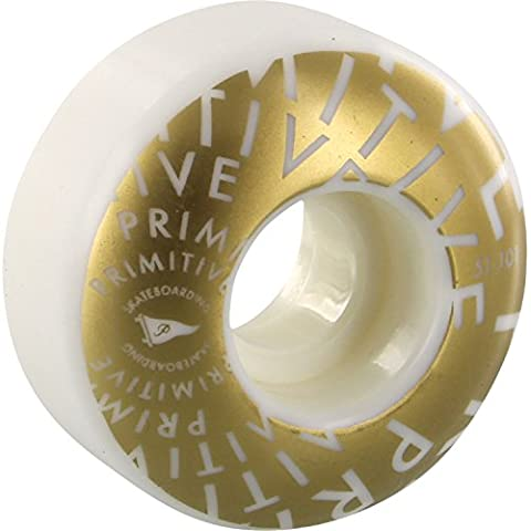 Primitive Skateboarding Pennant Vortex White / Gold Skateboard Wheels - 51mm 101a (Set of 4) (Vortex Skateboard Ruote)