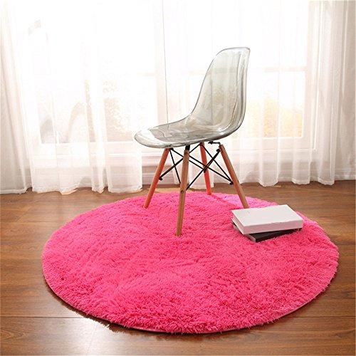 Teppich, CAMAL Runde Seide Wolle Material Yoga Teppich für Wohnzimmer Schlafzimmer und Bad (Rose Rot, 140cm) - Seide Rose Teppich