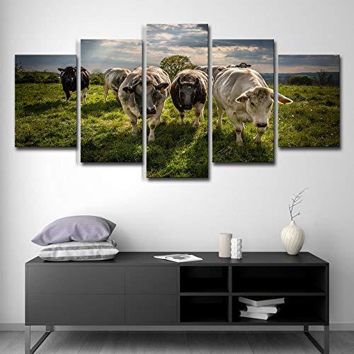 kssim 5 Panel Wandkunst Hintergrund Malerei Ranch Tier Kuh Bild Druck Auf Leinwand Abstrakt Für Zu Hause Moderne Dekorative Malerei (Ranch Bilder)