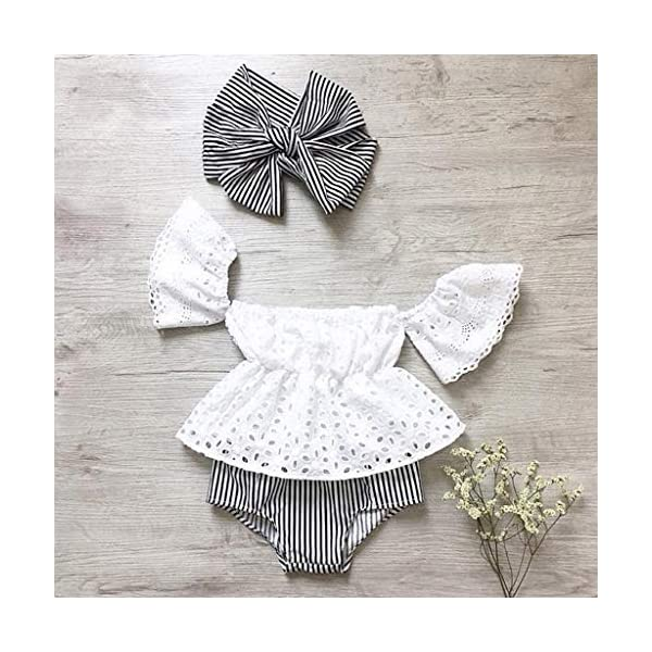 PAOLIAN Conjuntos para Bebe Niñas Verano Recién Nacidos Camisetas Sin Tirantes Manga Corta Pantalones Corto Diademas… 4