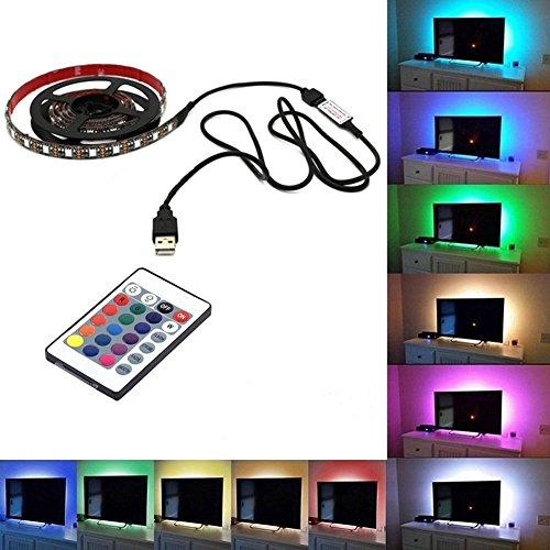 Tv-lampe (Dxlta 5050USB Mood Light RGB Multi Color LED-Streifen Licht Hintergrundbeleuchtung TV-24-Tasten Fernbedienung 4m)