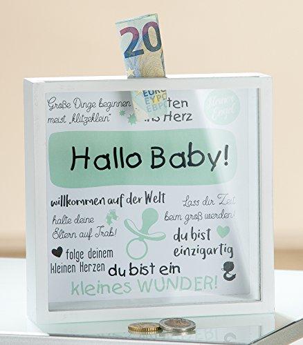 Gilde MDF Spardose 'Hallo Baby!' mit Sichtfenster 43457