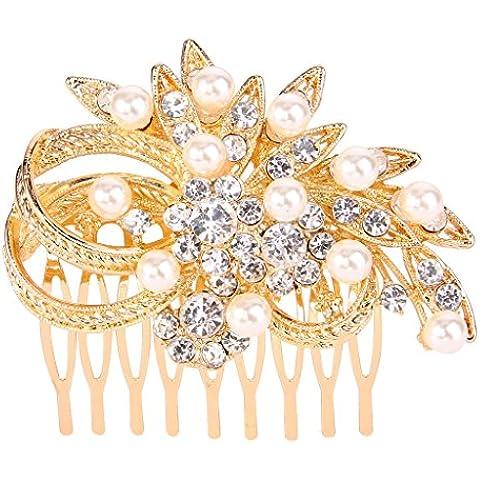 EVER FAITH®femminile cristallo austriaco Cream simulato Pearl Wedding dei capelli del fiore pettine chiaro Gold-Tone