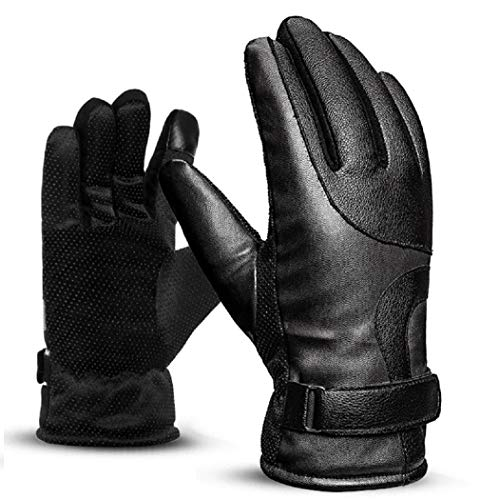 WAYMX Lederhandschuhe Männer Winter warmes Outdoor-Reiten Plus SAMT dicken, winddichten, Wasserdichten Touchscreen-Motorradhandschuhe