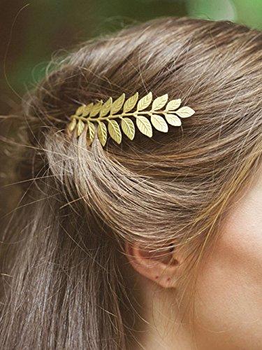 handcess Haarschmuck Kämme, Hochzeit Blatt Haarkamm Clips für Braut und Brautjungfer (Gold)