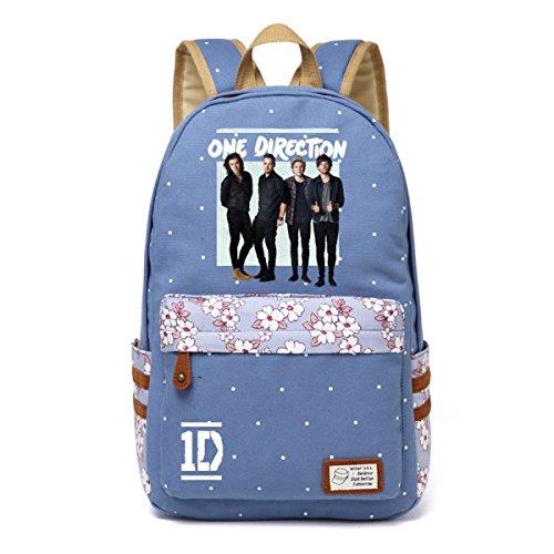 AUGYUESS One Direction Leinwand Schultasche Daypack Schultasche Laptop Tasche Handtasche Rucksack Medium Hellblau -