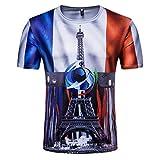 YuanDiann 2018 Calcio Coppa del Mondo Uomo Donna Tifosi Maglietta 3D Bandiera Nazionale Stampa Magliette Maniche Corte Girocollo Maglia T Shirt Francia 1# M