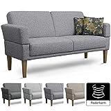 Cavadore 3er Sofa Femarn / Küchensofa für Küche, Esszimmer / Couch für Esszimmer / Maße: 190 x 98 x 81 cm (BxHxT) / Strukturstoff Mint (hellblau/weiß/grün/pink) / Echtholzfüße in Buche natur