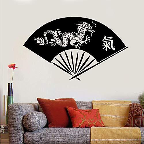 ONETOTOP Vinyl Wandtattoo Hand Fan Asiatischen Drachen Orientalische Kunst Wandaufkleber Chinesische Schriftzeichen Wandkunst Wandhauptdekoration Geschenk 57 * 35 cm