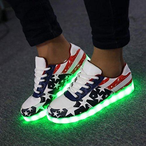 (Présents:petite serviette)JUNGLEST® Cravog Chaussures de Sports Baskets 8 couleurs Homme Femme USB Charge LED Lu initial