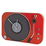 Contemporay Clocks - Retro Classic Record Player Turntable Style Wall Clock - Gloss Red
