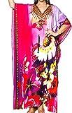 LA LEELA glatt Likre Blumen Truppe lässig Sommer rosa Lange Strandkleid Kaftan