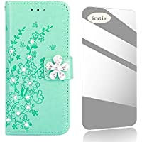 Galaxy J3 2017 Case,THRION Diamond Flower Pattern Premium Leather Cover [Card Slot][Free Tempered Glass Screen Protector] PU-Leather Case for Samsung Galaxy J3 2017 / J330 – Green Blue
