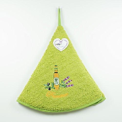 Torchon Essuie Mains Éponge Rond - 100% Coton Uni Brodé Vert Ø65cm – Lavande bouteille