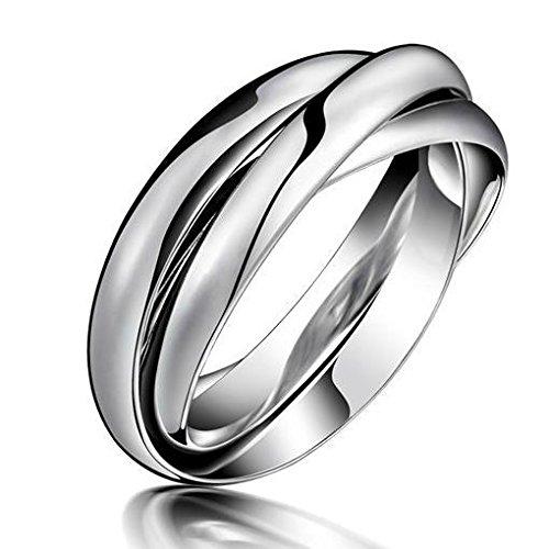 bigshopDE dreiteiliger Bandring Damen Ring Silber Edelstahl Schmuck Gr. 57 (18.1)