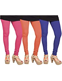 CAY 100% Cotton Combo of Blue, Orange and Baby Pink Color Plain, Stylish & Most Comfortable Leggings For Girls & Women with Full Length (SIZE : Free Size)