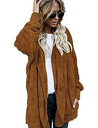 5d6d939a13e Zilcremo Mujeres Chaquetas Casuales Tops Furry Fleece Warm Frente Abierto  Cardigan Chaqueta con Capucha Capa Externa