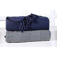 EHC Luxury Pack of 2 Chevron Cotton Single Sofa Throw Blanket, 125x 150cms - Navy Blue