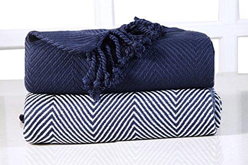 EHC Tagesdecke Chevron Baumwolle Single Sofa Überwurf Decke, Marineblau/Blau, 125x 150cm, 2Stück