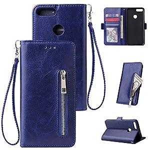 HUDDU Kompatibel mit Handyhülle für Huawei P Smart Enjoy 7S Hülle Leder Wallet Schutzhülle Kartenfächer Reißverschluss Brieftasche Magnetverschluss Filp Tasche Ständer Lederhülle Wristlet Blau