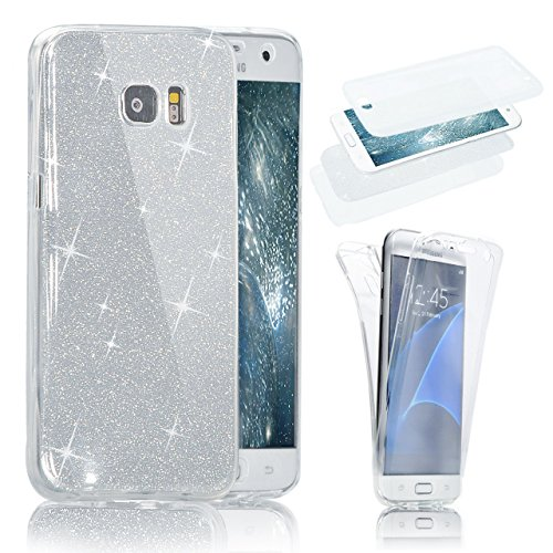 Samsung Galaxy S7 360 Grad Hülle, Samsung Galaxy S7 Hülle Glitzer, Ultra Dünn Liquid Crystal Glänzende Soft-Flex Handyhülle Bumper Style Premium TPU Silikon Perfekte Passform Schutzhülle für Samsung Galaxy S7 SM-G930F (5,1 zoll) Case Cover Touchscreen Dün